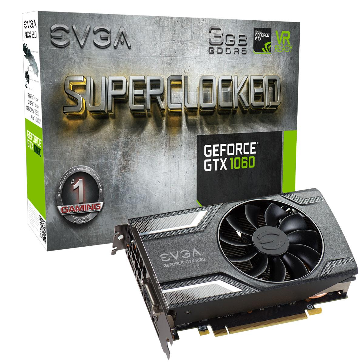Видео карта EVGA GeForce GTX 1060 3GB SC GAMING 03G-P4-6162-KR