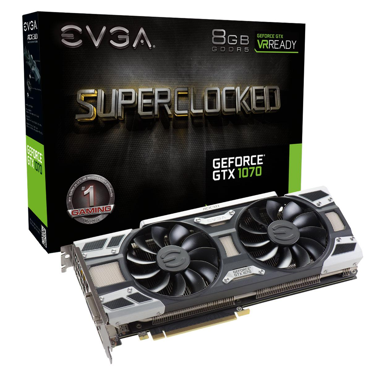 Видео карта  EVGA GeForce GTX 1070 SC GAMING ACX 3.0 08G-P4-6173-KR