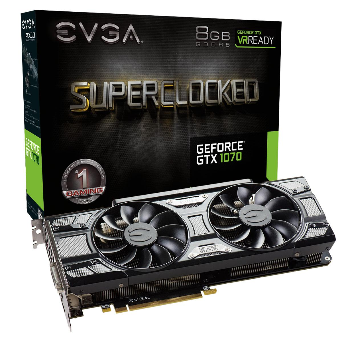 Видео карта EVGA GeForce GTX 1070 SC GAMING ACX 3.0 Black Edition 08G-P4-5173-KR