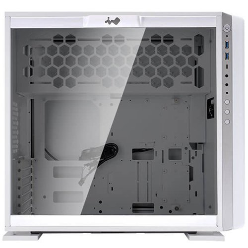 "Chassis In Win 307 Mid Tower, Tempered Glass, 12"" x10.7"" ATX, Micro-ATX, Mini-ITX, VGA Card Length: 350mm, CPU Heatsink Height: 160mm, USB3.0x2+TYPE3.1C+AUDIO-1-3-3"