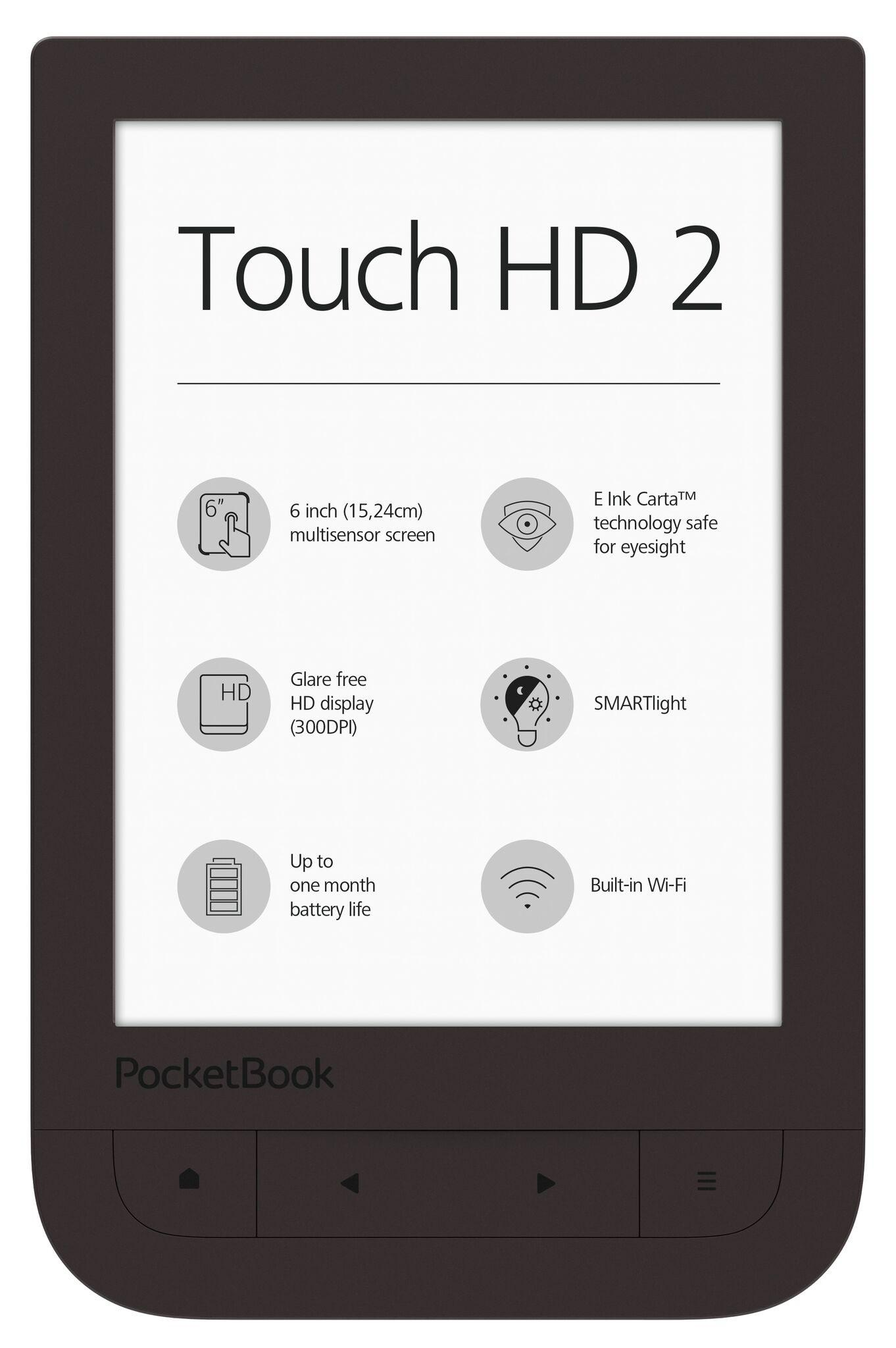 "eBookчетец POCKETBOOK Touch HD2  6"" PB631-2 ,тъмнокафяв, SmartLight технология"
