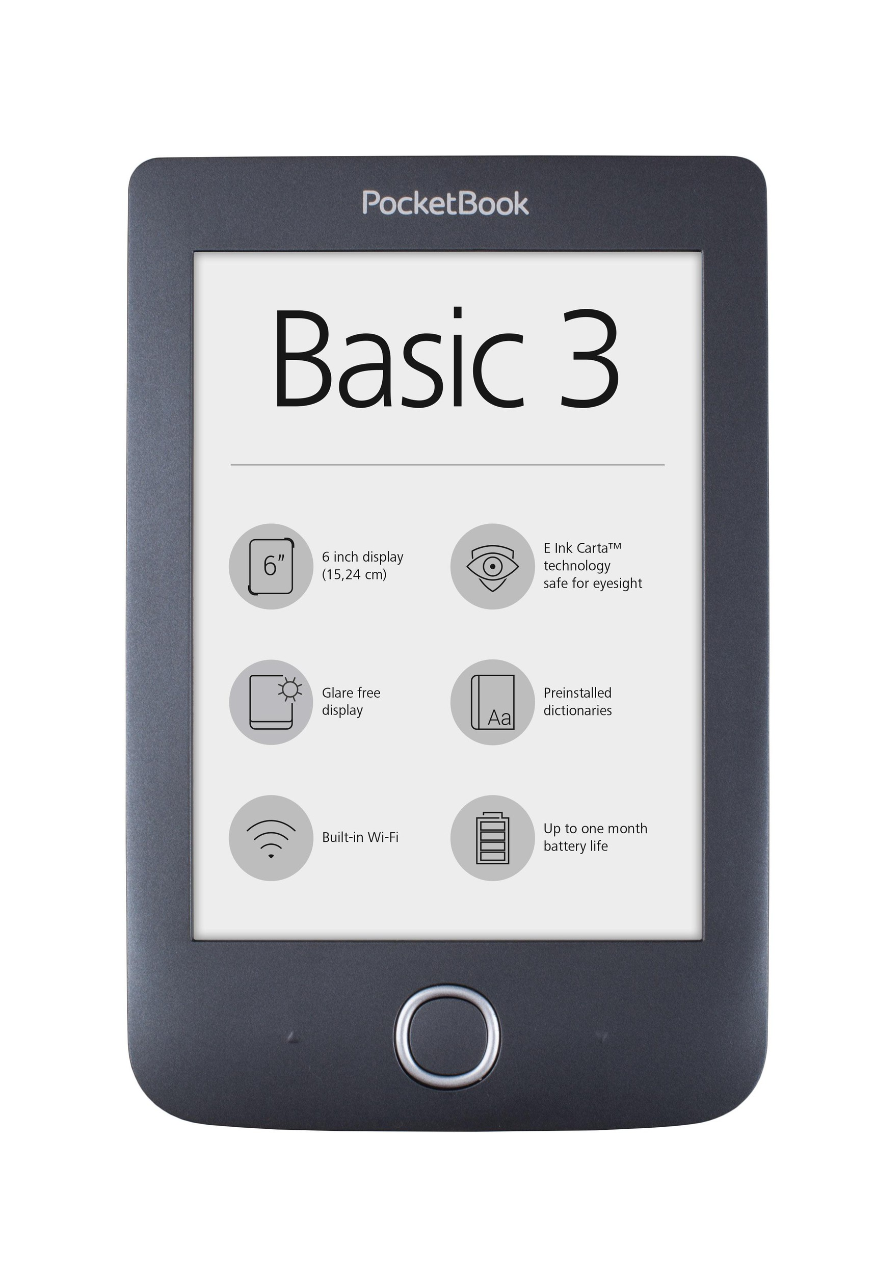 "eBookчетец PocketBook Basic3 PB614-2, 6"" ,Черен"