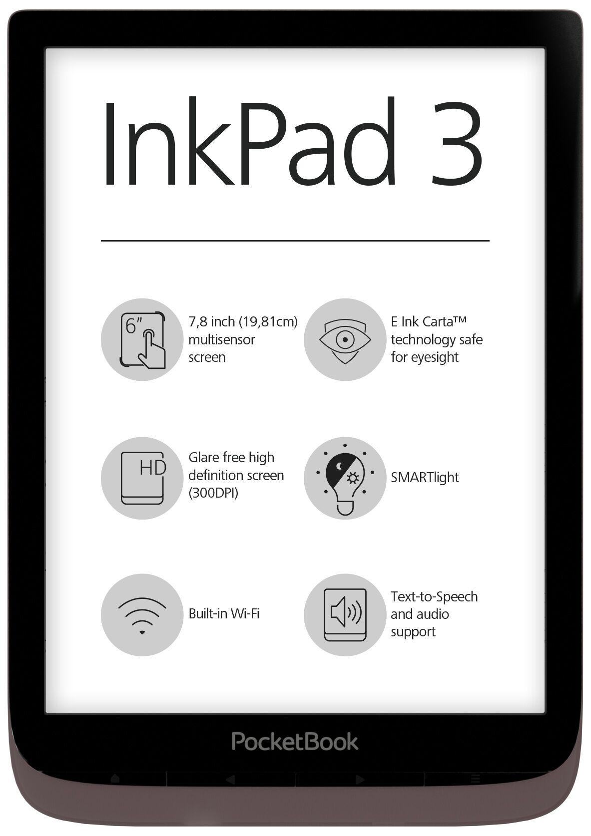 "eBookчетец PocketBook InkPad 3 PB740, 7.8"" ,Тъмнокафяв"